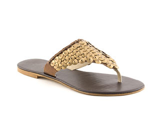 Toe Post Sandal With Sequin Trim
