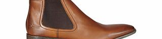 Brown leather slip-on Chelsea boots
