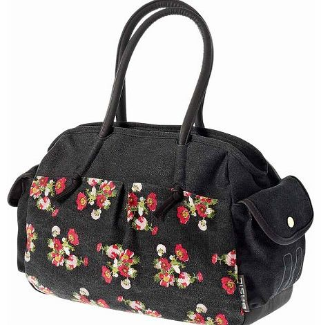 Katharina Bicycle Shoulder Bag with Flowers - Black, 40 x 14 x 29 cm