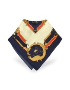 Blue and Cream Saddlery Print Silk Square Scarf