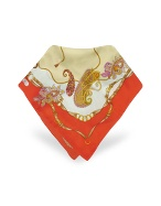Ornamental Printed Silk Square Scarf