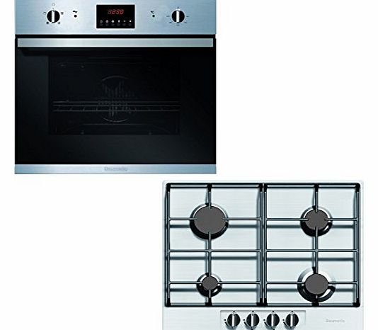 Built-In Stainless Steel Fan Oven and Gas Hob Pack 60cm - BHG620SS BO625SS Set