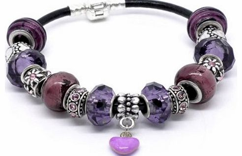 Purple Love Charm Bracelet - 20cm Leather Bracelet with 15 charms/beads - Ideal Birthday/Valentine/Mothers Day Gift.