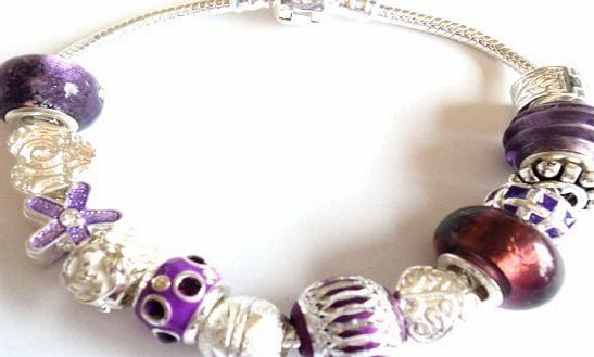Purple Rain Pandora/Troll Style Charm Bracelet- Ideal Birthday/Christmas Present - 20cm silver plated clasp bracelet - Packaged in a lovely organza gift bag