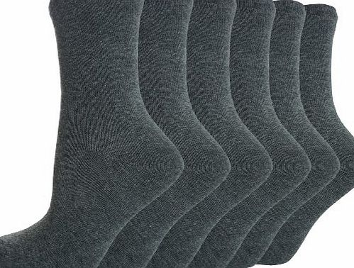 (B35) Boys, Girls, Kids, Unisex, Plain School Socks in Black / Navy / Grey / White, Sizes 6-8.5, 9-12, 12.5-3.5, 4-6.5 (9-12, GREY)