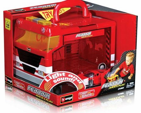 31201 Race and Play Portable Garage Ferrari Electronic Garage and Ferrari Scale 1:43
