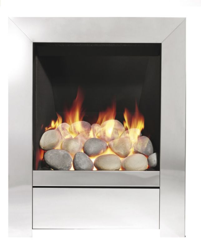 Be Modern Sensation Pebble Chrome Modern Inset Gas Fire