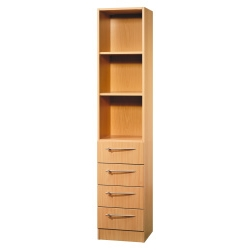 Executive Narrow Bookcase with Drawers -