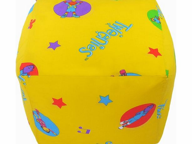 Bean Bag Warehouse Cotton Tweenies Yellow Star Cube Footstool Pouffe Bean Bag with Filling