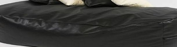 Beautiful Beanbags XXXX-L 6 FT BLACK FAUX LEATHER BEANBAG BED BEAN BAG SOFA BED