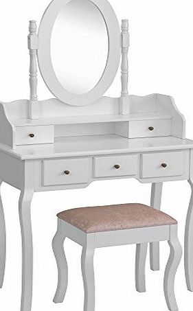 Beautify Premium Dressing Table, Mirror amp; Stool Bedroom Vanity Set with 5 Drawers - White