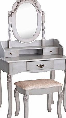 Beautify Vintage-Style Silver Dressing Table, Mirror amp; Stool Vanity Set with 3 Drawers