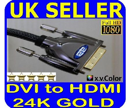 2m DVI to HDMI Cable for SAMSUNG PANASONIC LG SONY BLURAY PS3 PC DVD Blu-ray Players Set Top and SKY Boxes LCD TV TFT Monitors FULLHD 3D Video DVI-D (HDMI to DVI , Dual Link, DVI to HDMI) 24+1 Pins v1