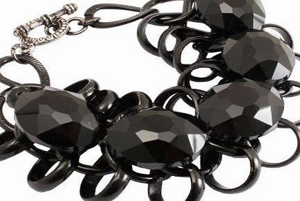 Black Retro Links Fashion Bracelet with Oval Stones - In Gift Bag