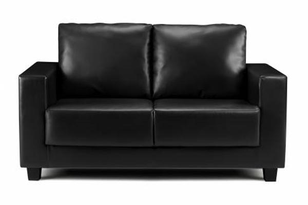 Boxa Black Faux Leather Sofa