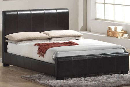 Chello Brown Leather Bed Frame Double 135cm
