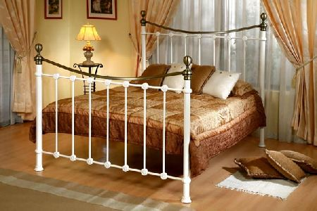 Kelso Cream Metal Bed Frame Double 135cm