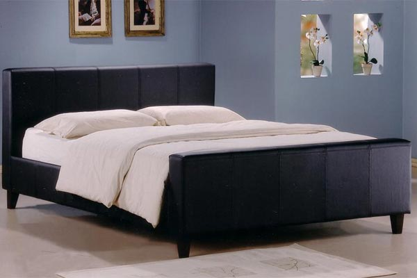 Kensington Real Leather Bed Double 135cm