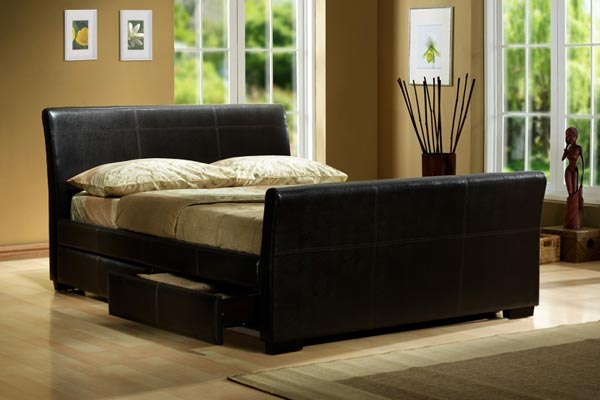 Peru Faux Leather Bed Frame Double 135cm