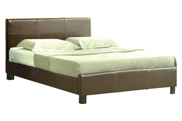 Sheraton Brown Faux Leather Bed Frame Double 135cm