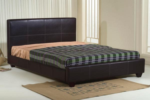 Stanton Brown Faux Leather Bed Frame Double 135cm