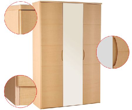 Synergy Range - Wardrobe - 3 Door (1 Mirror Doors)