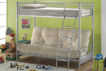 Twin Futon Metal Bunk Beds Single 90cm