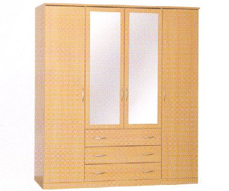 Toledo 3 drawer 4 door wardrobe 2 mirror doors for Sideboard toledo
