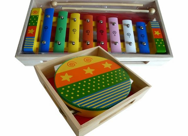 BeeSmart Childrens Wooden Musical Instruments Set - Xylophone with Song Sheet and Tambourine - presented in separate wooden boxes