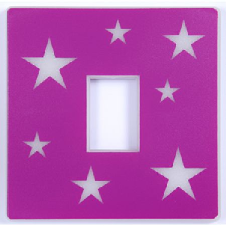 Glow in the Dark Stars Pink Light Switch Cover