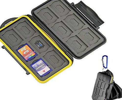 BEEWAY ® Tough Water Shock Resistant Protector Memory Card Carrying Case Holder 24 Slots for SD SDHC SDXC and Micro SD TF with Storage Bag amp; Carabiner