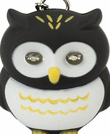 Beierte Novelty Cute Owl LED KeyChain Keyring Torch With Light amp; Sound (Black)