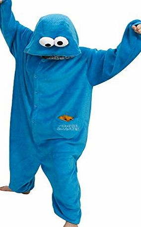 Belisyr Women Men Adult Blue Sesame Street COOKIE MONSTER Unisex Anime Christmas Halloween Carnival Cosplay Kigurumi Outfit Costume Onesies Pajamas Romper Clothing Piece suits