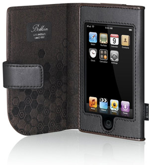 iPOD Touch Leather Folio - Black/Chocolate