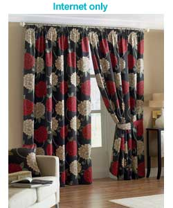 Black Lined Curtains 66 x 72