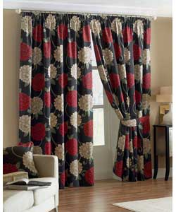 Black Lined Curtains 66 x 72in