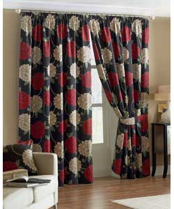Black Lined Curtains 90 x 90in