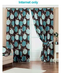Blue Lined Curtains 66 x 90