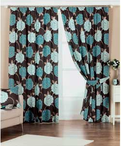 Blue Lined Curtains 66 x 90in