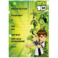 ben 10 Party Invitations Pad - 20 invites on a pad