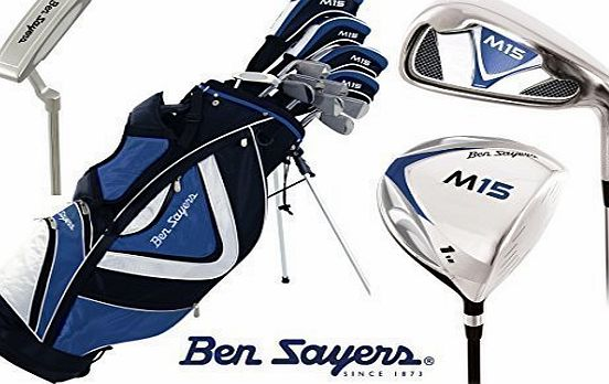 Ben Sayers   1inch Longer M15 Complete Golf Club Set Stand Bag Mens New Graphite Shafted Woods and Steel Shafted Irons Head Covers   FREE Ben Sayers Golf Umbrella amp; Society Pack Worth £24.00