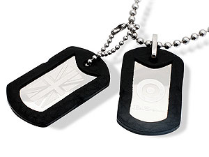 Black and Stainless Steel Dog Tags and Chain 019511