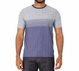 Blue and grey striped crewneck T-shirt