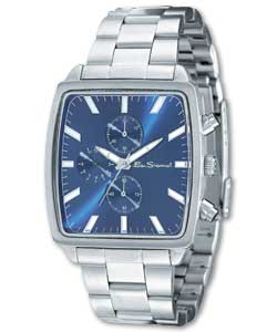 Gents Watch with Blue Square Chronograph Dial