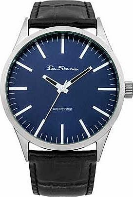 Mens Black Strap Blue Dial Watch