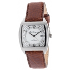 Mens Leather Strap Watch White/Brown