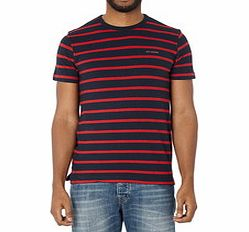 Navy and red striped cotton blend T-shirt