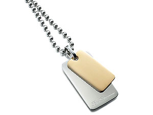 Silver and Gold Double Dog Tag and Ball Chain 019530