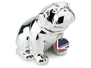 Silver British Bulldog Money Box 013016