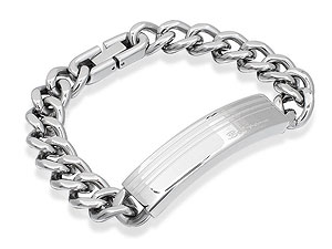 Stainless Steel Striped Identity Bracelet 019505